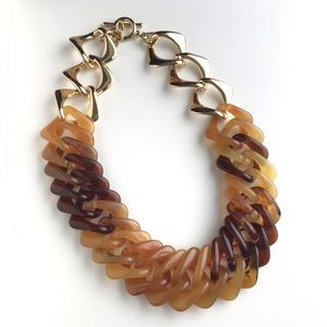 Tortoise Shell Amber Lucite Link Necklace